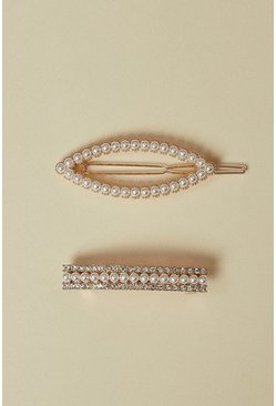 Gold 2 Pack Pearly Hair Clips