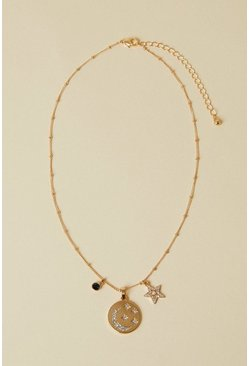 "Gold """"Wellness"""" Star And Moon Charm Necklace"