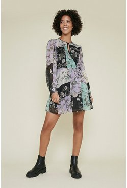 Multi Patched Print Wrap Skater Dress