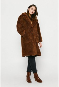 Tan Longline Patch Pocket Teddy Coat