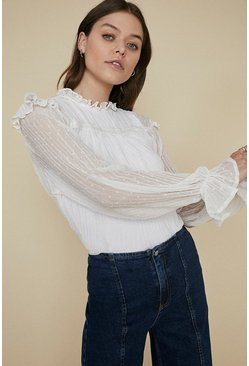 White Trim Creased Dobby Long Sleeve Blouse