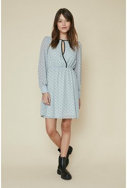 Blue Flocked Heart Wrap Dress