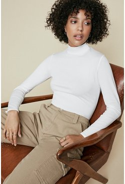 Ivory Funnel Neck Long Sleeve Top