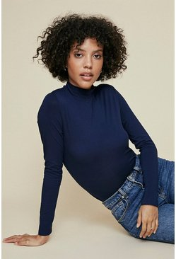 Navy Funnel Neck Long Sleeve Top