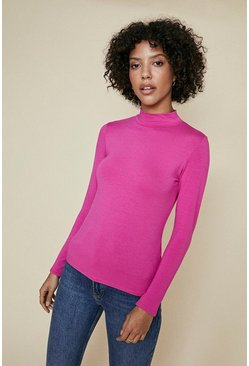 Pink Funnel Neck Long Sleeve Top