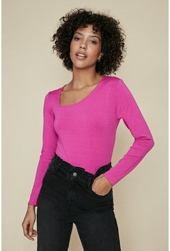 Pink Cut Out Long Sleeve Top