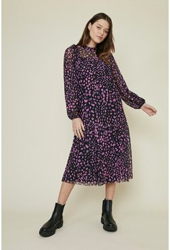 Multi Frill Yoke Printed Mesh Smock Dress
