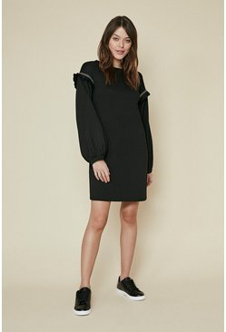 Black Embellished Trim Frill Sweat Dress