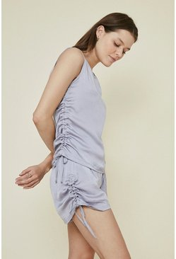 Lilac Washed Satin Ruched Short