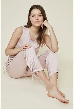 Pink Washed Satin Ruched Jogger