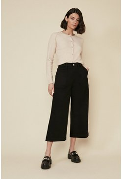 Black Adeline Cropped Wide Leg Jean