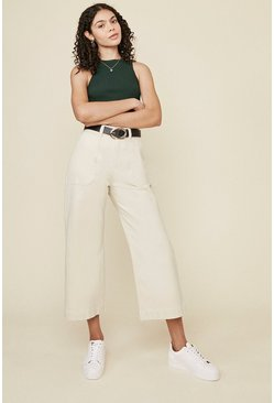 Natural Adeline Cropped Wide Leg Jean