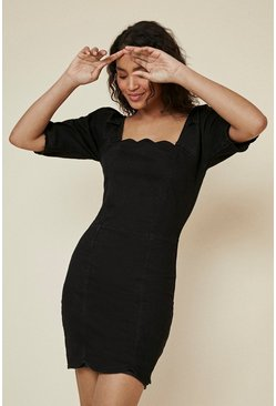 Black Scallop Detail Denim Dress