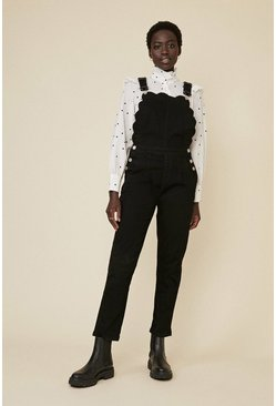 Black Scallop Detail Dungarees