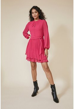 Pink Pleated Shell Dress