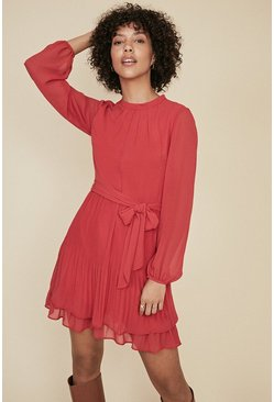 Red Pleated Shell Dress