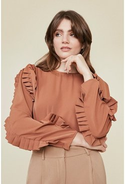 Camel Puff Sleeve Blouse