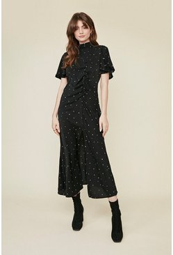 Black Ruche Detail Angel Sleeve Midi Dress