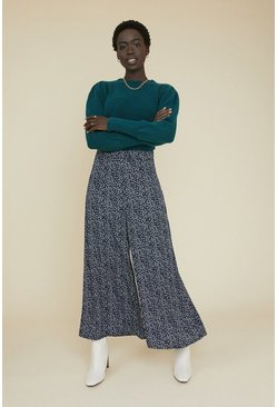 Blue Ditsy Wide Leg Trouser