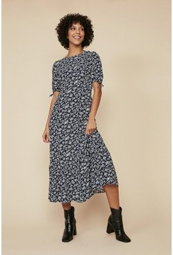Navy Blue Floral  Tie Sleeve Midi Dress
