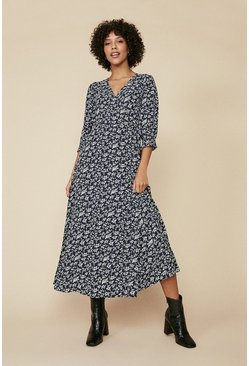 Navy Blue Floral Wrap Midi Dress
