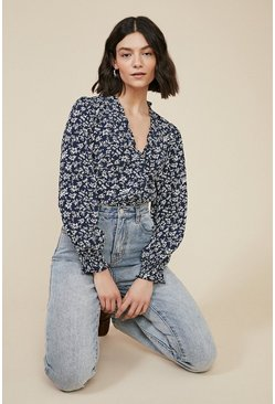 Navy Blue Floral Wrap Top
