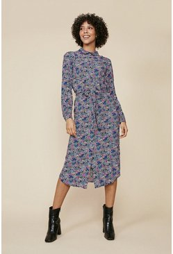Purple Ditsy Print Shirt dress