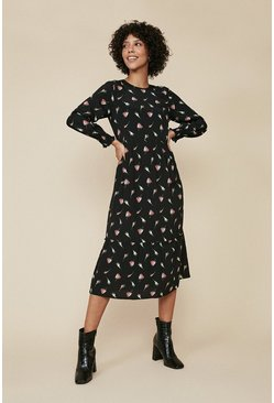 Black Rose Print Tiered Midi Dress