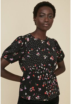 Black Ditsy and Spot Tea Top
