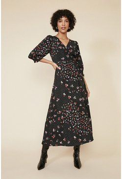 Black Ditsy and Spot Wrap Midi Dress