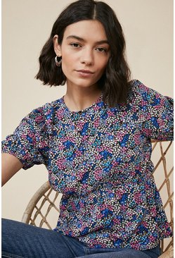 Purple Ditsy Print Tea Top