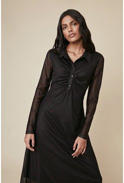 Black Heart Spot Mesh Ruched Shirt Dress