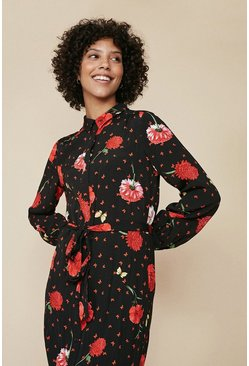 Multi Red Floral Print Shirt Dress