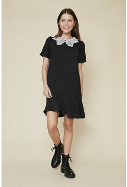 Black Floaty Collar Detail Dress