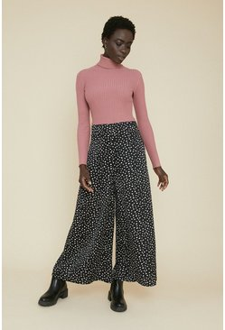 Black Scattered Spot Wide Leg Trouser