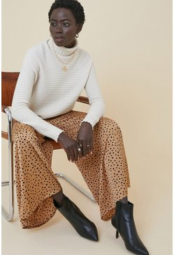 Camel Scattered Spot Wide Leg Trouser