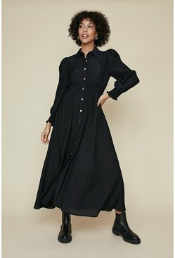 Black Shirred Button Shirt Dress
