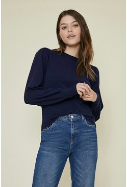 Navy Puff Sleeve Knitted Jumper