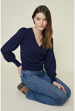 Navy Puff Sleeve V Neck Knitted Jumper