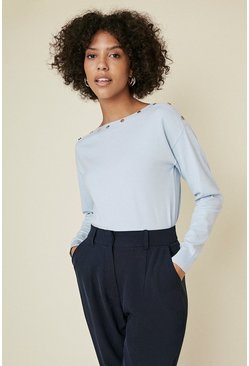 Pale blue Button Detail Slash Neck Jumper