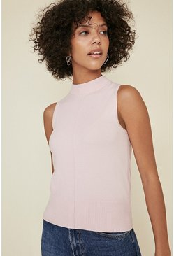 Pale pink Button Back Sleeveless Knit