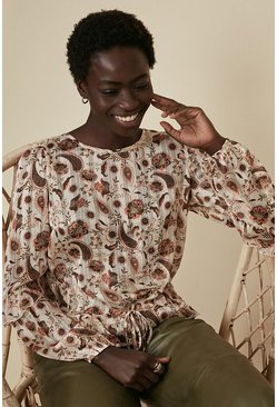 Light bronze Printed Chiffon Long Sleeve Blouse