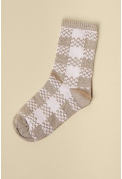 Grey Checked 2 Tone Socks