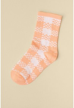 Peach Checked 2 Tone Socks