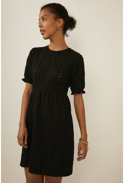 Black Pointelle Shirred Cuff Skater Dress