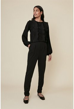 Black Frill Tapered Trousers