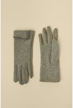 Grey Triple Button Fabric Gloves