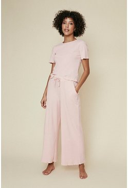 Pink Brushed Rib Lettuce Edge Wide Leg