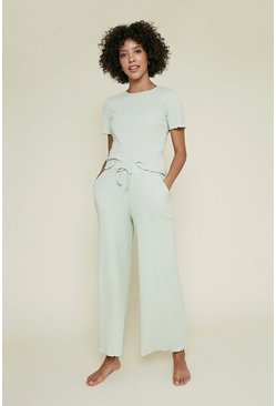 Sage Brushed Rib Lettuce Edge Wide Leg