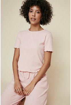Pink Brushed Rib Lettuce Edge T Shirt